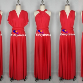 Maxi full length bridesmaid infinity dress convertible wrap dress multi way long dresses bright red infinity dress