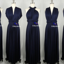Maxi Full Length Bridesmaid Navy Blue Infinity Dress Convertible Wrap Dress Multiway Long Dresses