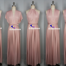 Maxi full length bridesmaid infinity dress convertible wrap dress multi way long dresses nude pink infinity dress