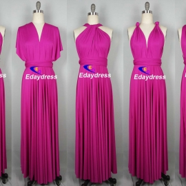 Maxi full length bridesmaid infinity dress convertible wrap dress multi way long dresses fuschia pink infinity dress