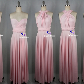 Maxi full length bridesmaid infinity dress convertible wrap dress multi way long dresses light pink infinity dress