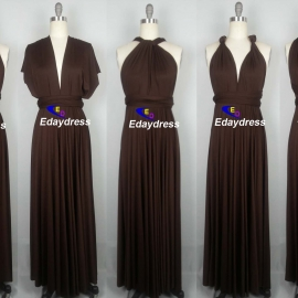 Maxi full length bridesmaid infinity dress convertible wrap dress multi way long dresses chocolate brown infinity dresses