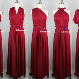 Maxi full length bridesmaid infinity dress convertible wrap dress multi way long dresses brick red infinity dress