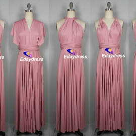 Maxi full length bridesmaid infinity dress convertible wrap dress multi way long dresses rose pink infinity dress