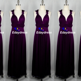Maxi full length bridesmaid infinity dress convertible wrap dress multi way long dresses grape purple infinity dress