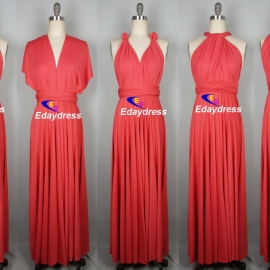 Maxi full length bridesmaid infinity dress convertible wrap dress multi way long dresses darker coral infinity dress