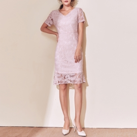Women fashion nude pink lace dresses short sleeves dresses