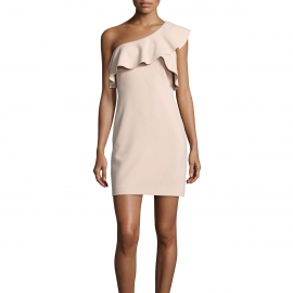 One shoulder ruffles neckline overlay sleeves nude pink dress