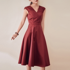 Women fashion beautiful dresses flare dress office dresses daily dresses with v neck dresses