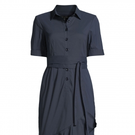 Women fashion navy blue dresses short sleeves dresses with bottom ruffles and front buttons placket