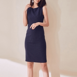 Women fashion beautiful dresses navy dresses work dresses office dresses fitting dress strips pattern dresses