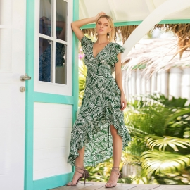 Short sleeves with side high low hem green print pattern with back zipper up long dresses