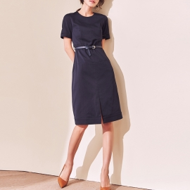 Women fashion navy blue short sleeves dresses and sleeves with trim round neck knee length dresses