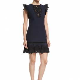 Lace trims on sleeves front neck and bottom cotton twill fabric navy blue dresses navy body black lace trims