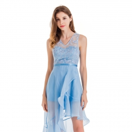 V neckline dusty blue tulle dress sleeveless asymmetrical skirt fashionable dress embrodery top dresses