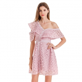 Hollow out pattern one shoulder off shoulder above knee length dress with matching buttons on front nude pink dresses
