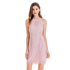Round neckline sleeveless dress hollow out body lace above knee length short dresses nude pink dress