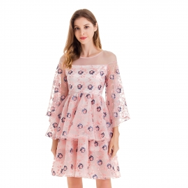 Scoop round neck sleeves pink tulle dress flower pattern dress