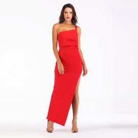 Full long red bandage dress one shoulder bandage dress with left sideseam slit dress