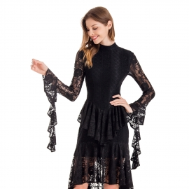 Full round neckline back long train hem with long sleeve decoration trims on sleeve hem elegant black lace dress