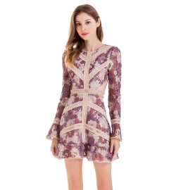 Purple lace hollow out dress empty center back with lace trims long sleeves sexy fashion dress lace dresses