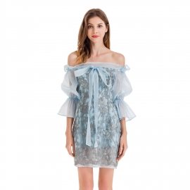 Water soluble lace pattern sheer tulle off shoulder princess sleeves with bows straps on center front lovely dusty blue dress