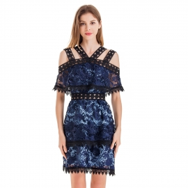 Navy blue body with black lace trims and high quality lace body dress straps shoulder off drop short sleeves dress