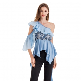 One should ruffles neckline and fake one sleeve elegant embroidery on body blue and champange top