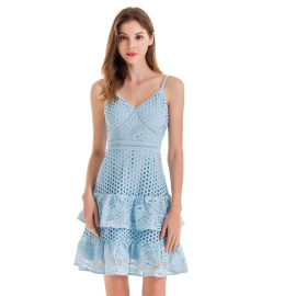 V neckline straps shoulder ruffles buttom skirts hollow out water soluble lace dusty blue dress