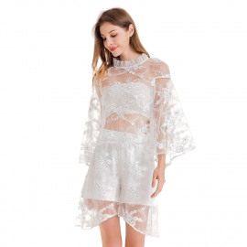 Round ruffles neckline embroidery lace tulle long sleeve top white shirt and short pant set