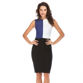 Royal blue and white top with black skirt dress party dress bandage dress club bandage dress