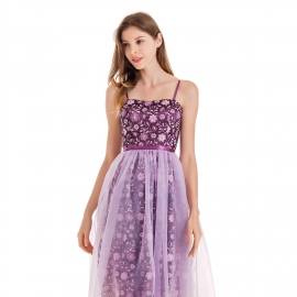 Straight neckline straps shoulder purple dress with tulle overlay skirt embroidery lovely dress