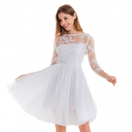 Full neckline snow white three quarters sleeve above knee lenght with center back invisible zipper lace trims on upper front and sleeve dress