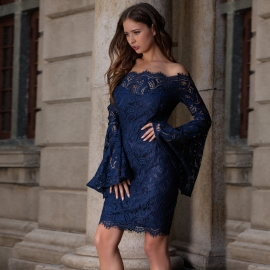 New arrival solid lace sexy off shoulder hollow out mandarin sleeve evening lace bodycon dress syh099